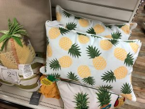 Pineapple print throw pillows and other pineapple decorating accents