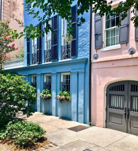 Pastel colored row houses. Pink and blue