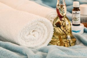 Rolled towels with scented oils