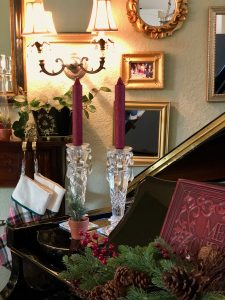 Piano with Crystal Candlesticks and greens