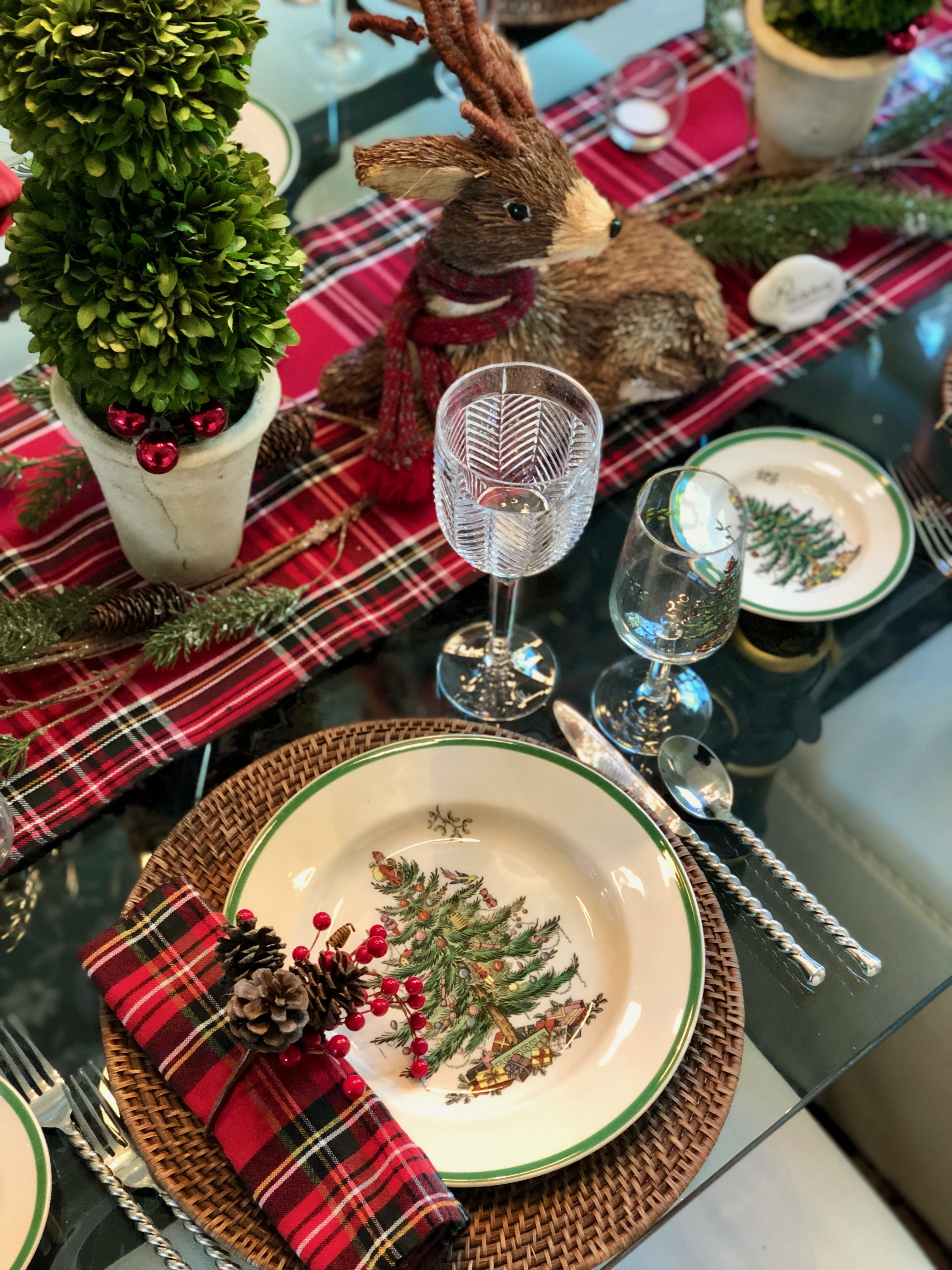 Spode Dishes With Tartan Napkins and berry napkin rings. Ralph Lauren water goblet with Spode wine glass