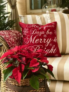 Outdoor chaise with Let your Days be Merry and Bright pillow and poinsettias in the foreground