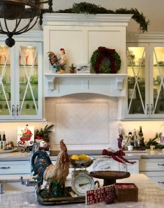 Kitchen hood with wreath, greens and Christmas sign