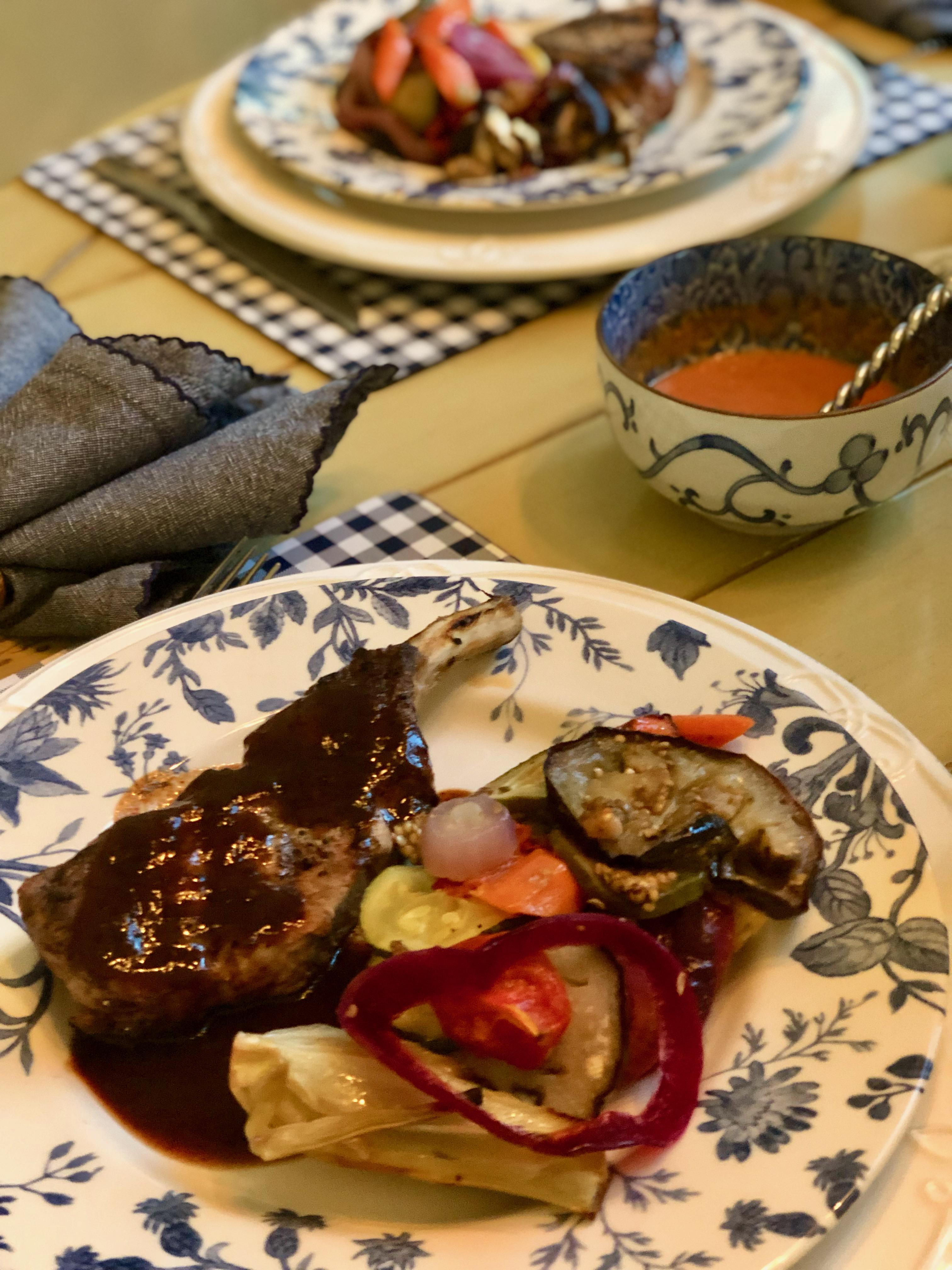 Mediterranean Vegetables With Grilled Pork Chops